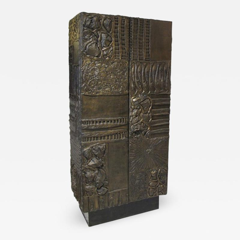 Paul Evans Sculpted and patinated bronze cabinet by Paul Evans