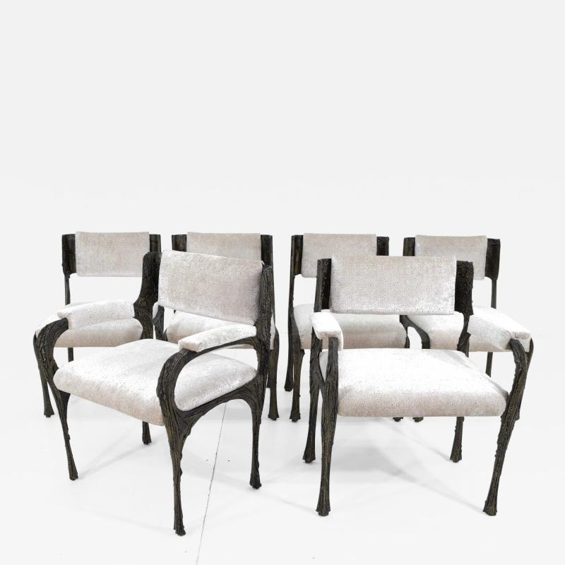 Paul Evans Set of Six Paul Evans Brutalist Sculpted Bronze and Resin Dining Chairs 1972