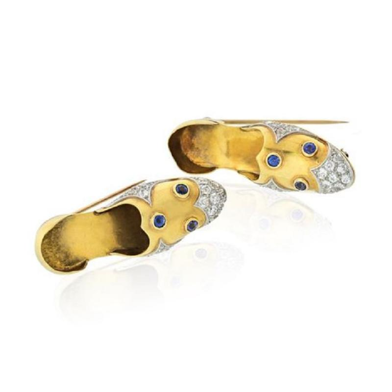 Paul Flato PLATINUM 14K YELLOW GOLD DIAMOND AND SAPPHIRE PAIR OF SHOE CLIP BROOCHES
