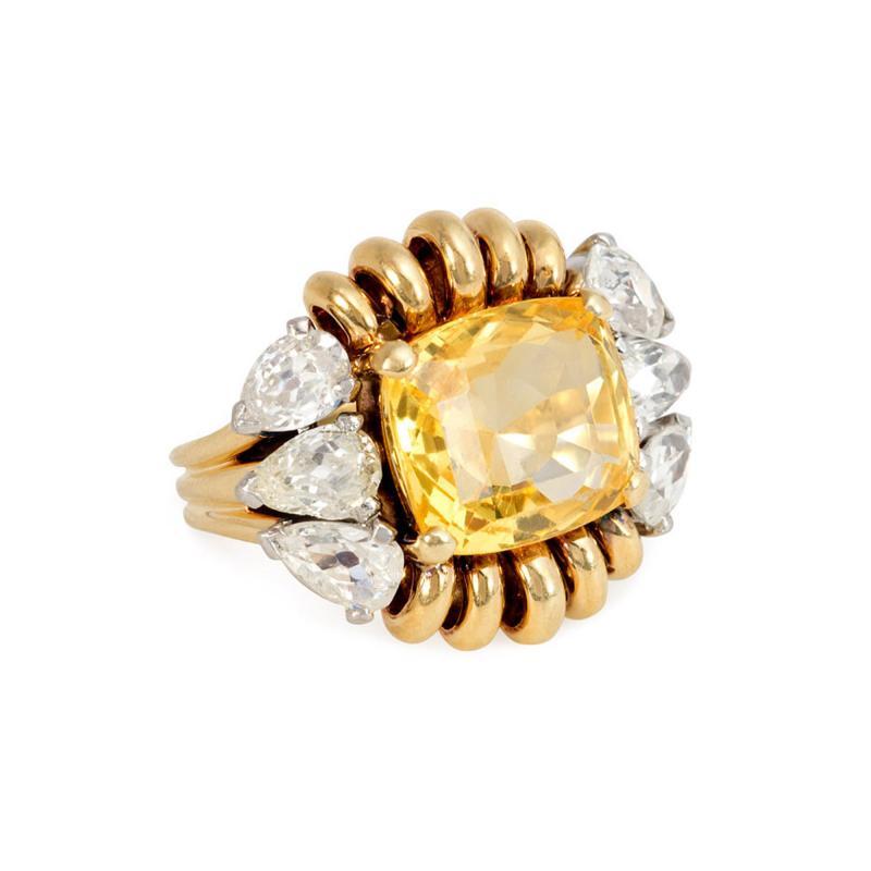 Paul Flato Paul Flato Retro Yellow Sapphire Diamond and Gold Cocktail Ring