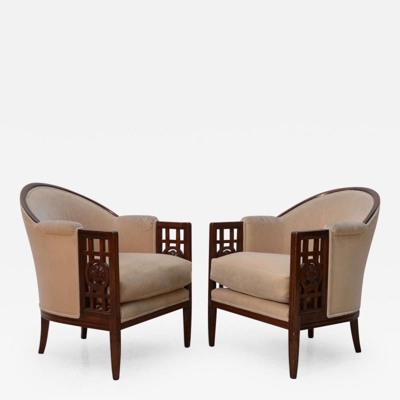 Paul Follot Fine Pair of French Art Deco Mahogany Chairs Paul Follot