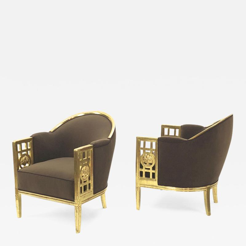 Paul Follot Paul Follot pair of gold leaf carved wood arm chairs