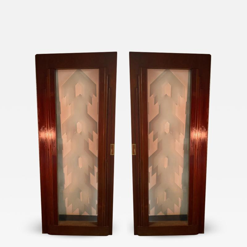 Paul Frankl FOUR ART DECO WOOD BRASS GLASS SKYSCRAPER DOORS IN THE STYLE OF PAUL FRANKL