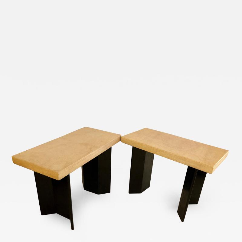 Paul Frankl Pair of Paul Frankl Ebonized Oak and Cork Console Tables