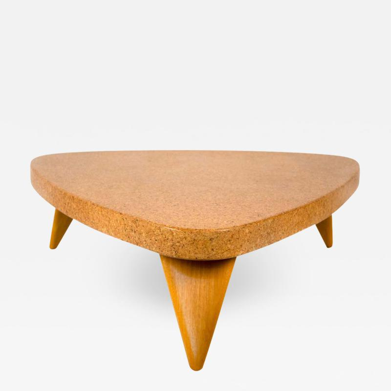 Paul Frankl Paul Frankl Bleached Mahogany and Waxed Cork Guitar Pick Coffee Table Model 5030