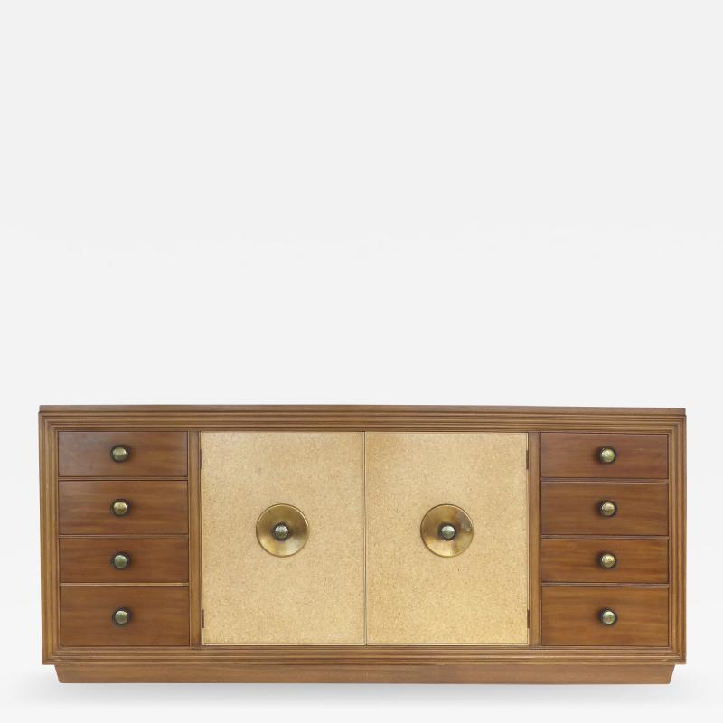 Paul Frankl Paul Frankl for Johnson Furniture Mahogany Cork and Hammered Brass Sideboard