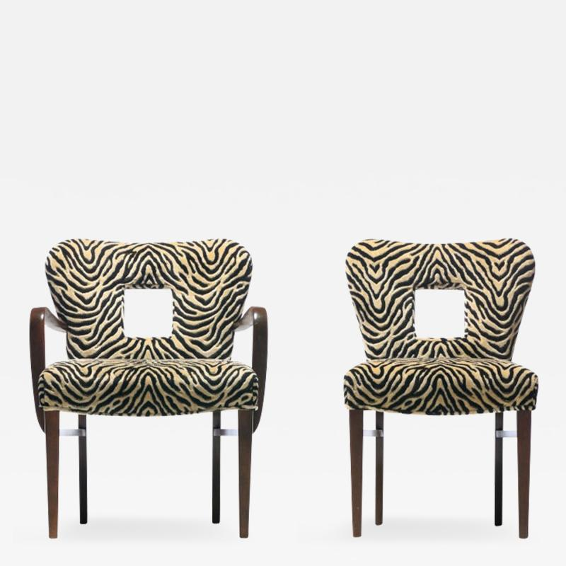 Paul Frankl Set of 8 Paul Frankl Dining Chairs in Zebra Cut Velvet with Gold Brocade c 1950
