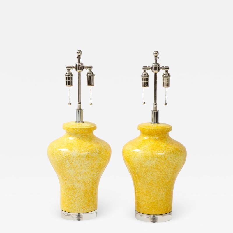 Paul Hanson Pair of Paul Hanson Canary Yellow Lamps