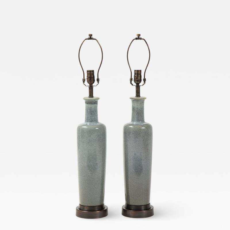 Paul Hanson Paul Hanson Speckled Blue Ceramic Lamps