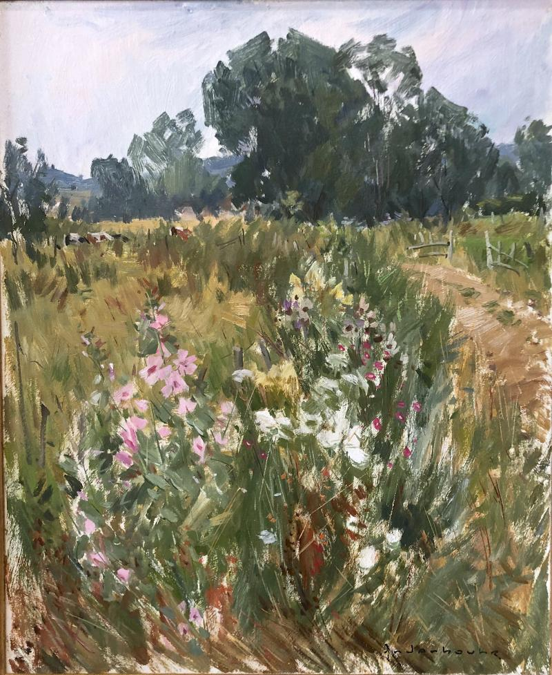 Paul Jean Anderbouhr French Landscape With Pink Flowers