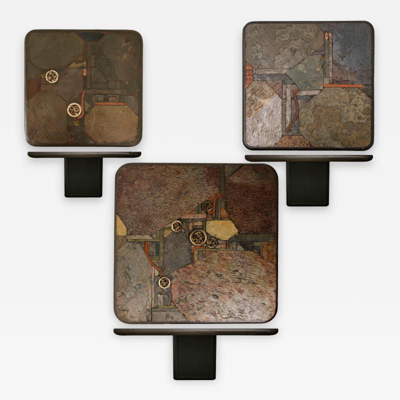 Paul Kingma Trio of Kingma Kneip Bronze and Slate Tables Netherlands 1960s