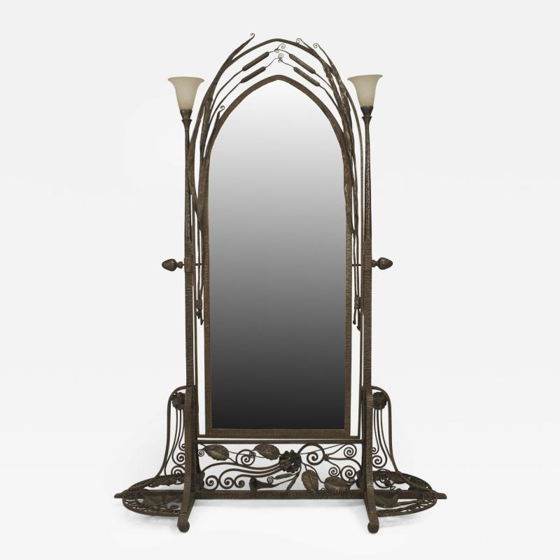 Paul Kiss French Art Deco Wrought Iron Cheval Mirror