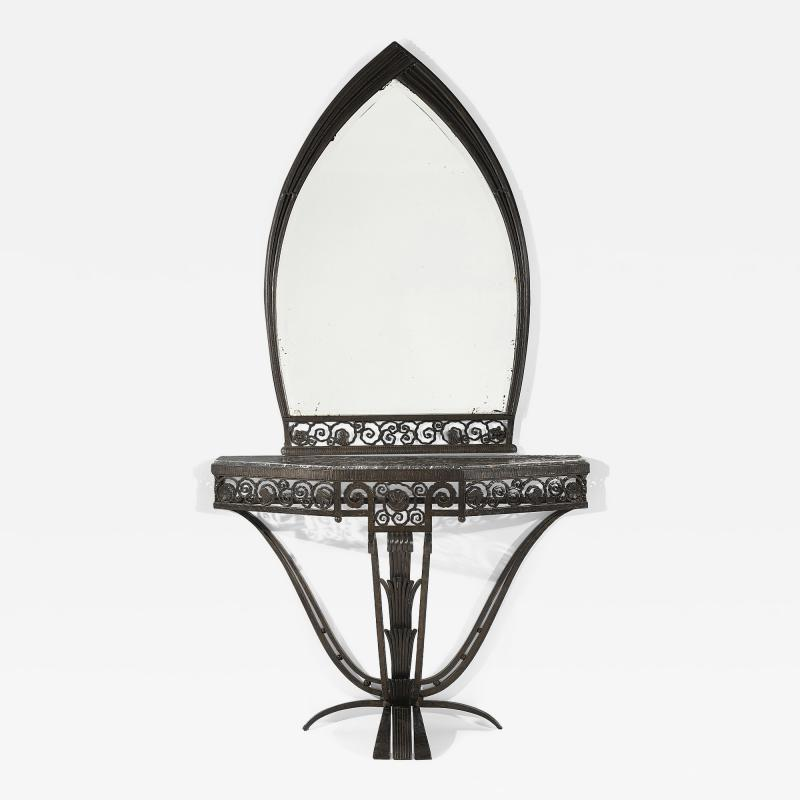 Paul Kiss Important Paul Kiss Wrought Iron Marble Console with Mirror c 1925
