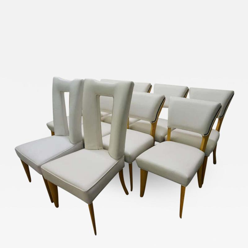 Paul L szl Amazing Set Ten Paul Laszlo Leather Dining Chairs Mid Century Modern
