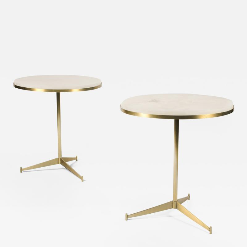 Paul McCobb Matching Pair of Side Tables by Paul McCobb with Onyx Tops
