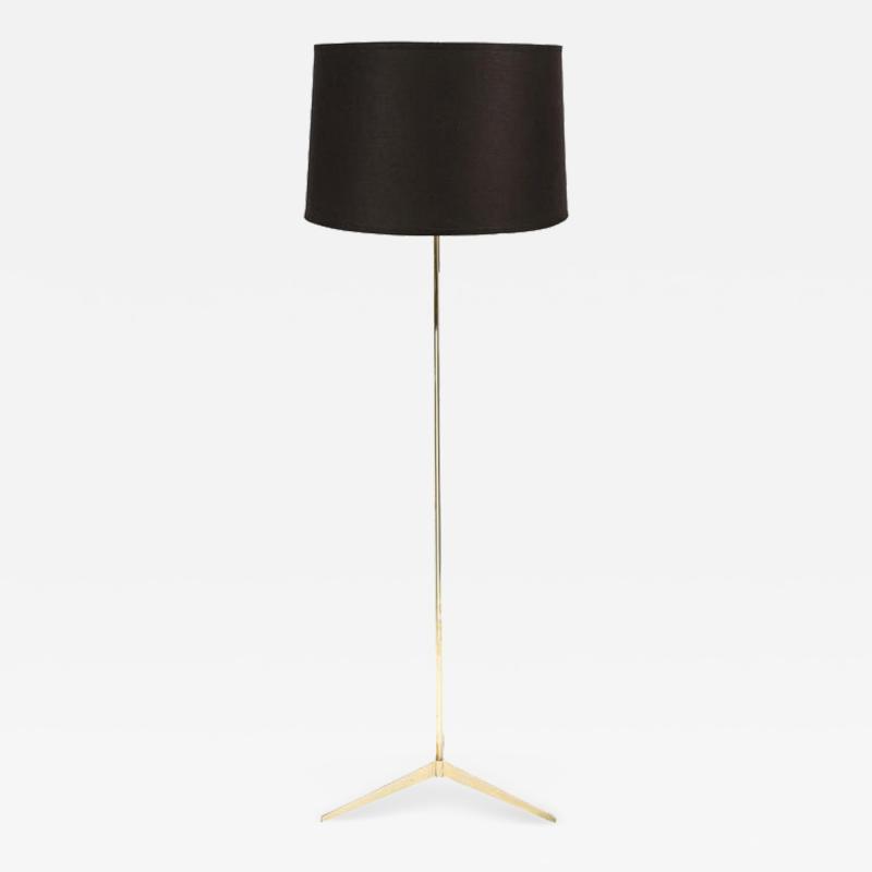 Paul McCobb Mid Century Tripod Brass Floor Lamp w Textured White Glass Shade by Paul McCobb