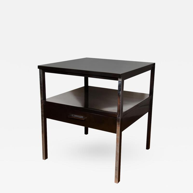Paul McCobb Pair of Lacquered Wood Tables with Chrome Details by Paul McCobb