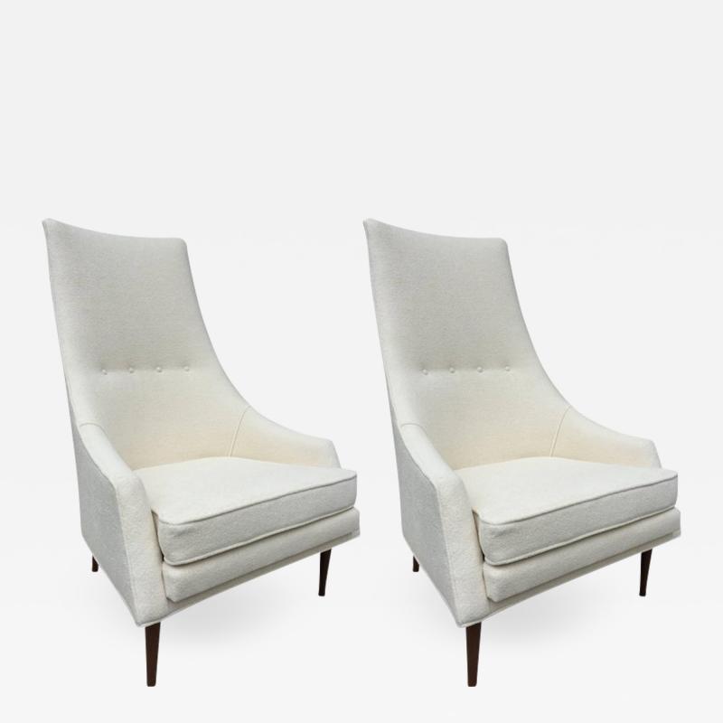 Paul McCobb Pair of Paul McCobb High Back Club Chairs or Slipper Chairs