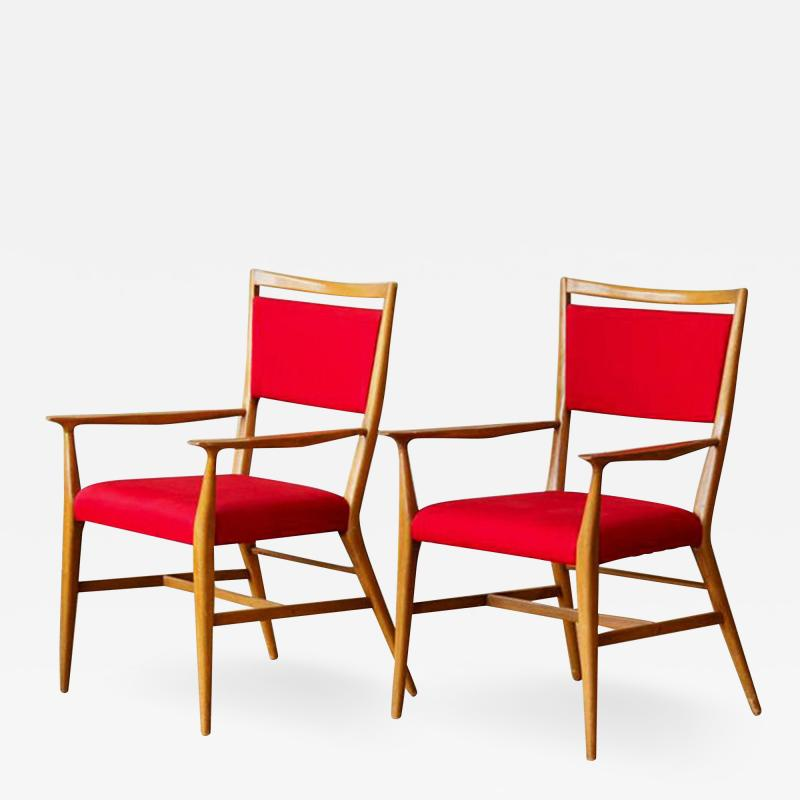 Paul McCobb Paul McCobb Pair of Red Upholstered Armchairs