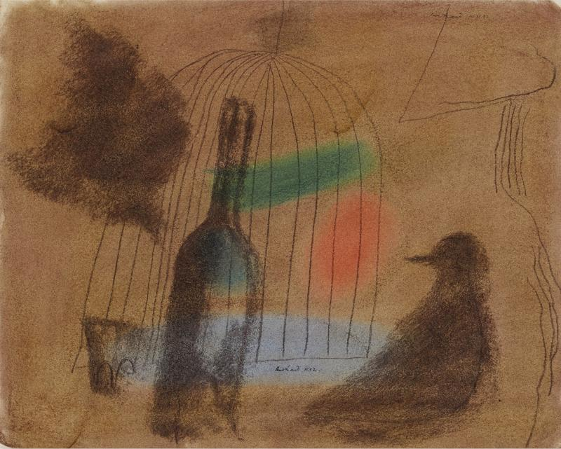 Paul Rand Untitled Wine Bottle and Bird outside of a Bird Cage in Moody Brown