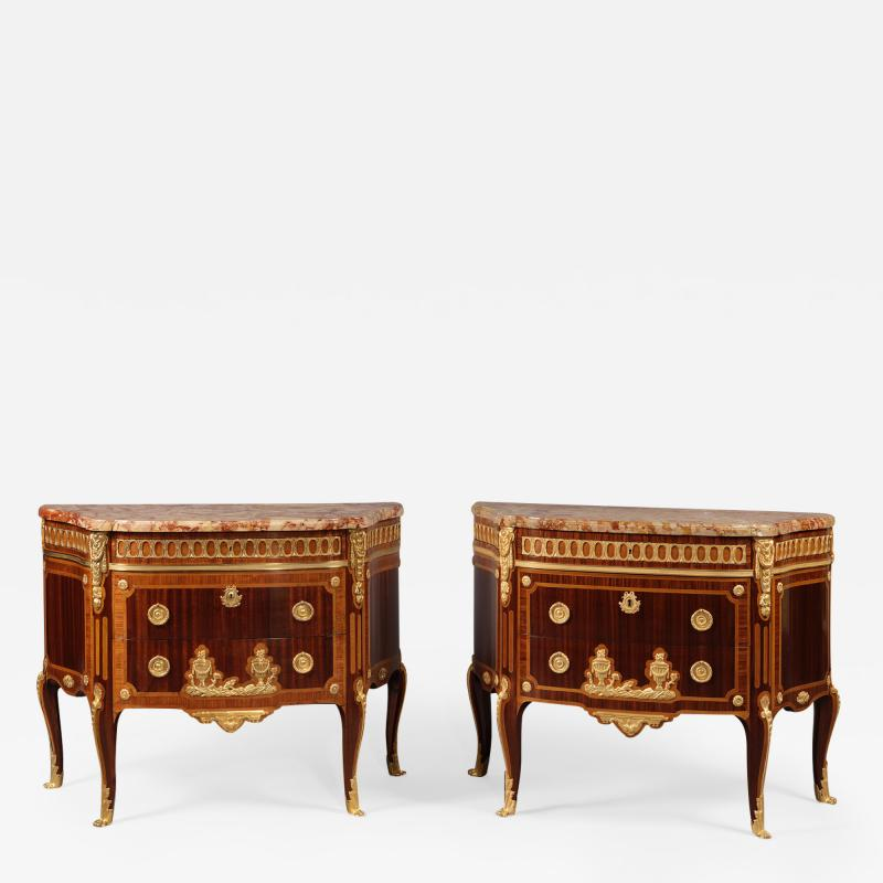 Paul Sormani A Pair of Transitional Style Parquetry Commodes