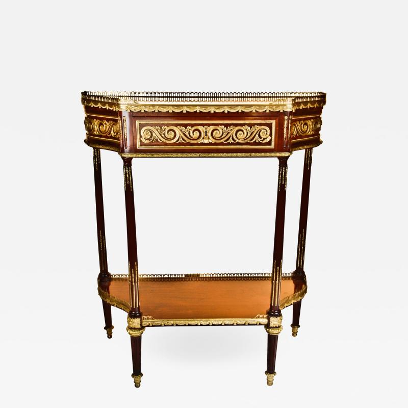 Paul Sormani Pair of Antique French Louis XVI Gilt Bronze Mounted Mahogany Consoles