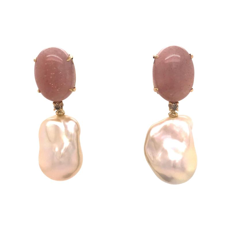 Peach Moonstone Baroque Pearls and Brown Diamonds on Yellow Gold Earrings