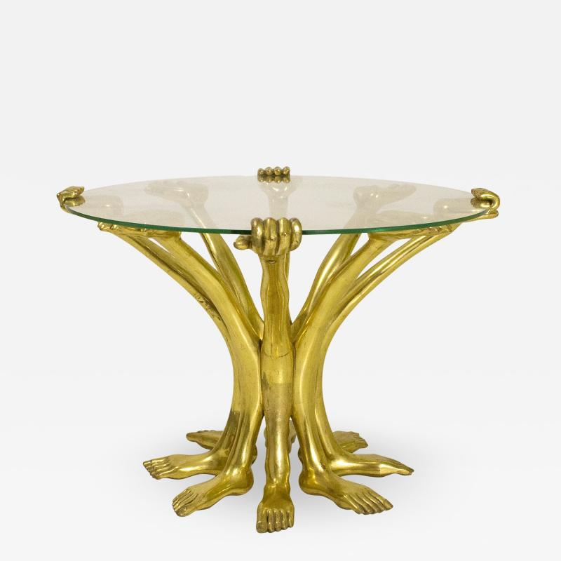 Pedro Friedeberg Pedro Friedeberg Gilt Hand Foot Coffee Table circa 1970 Mexico