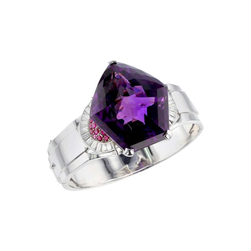 Pentagonal Amethyst with Rubies and Diamonds Cuff Bracelet Palladium