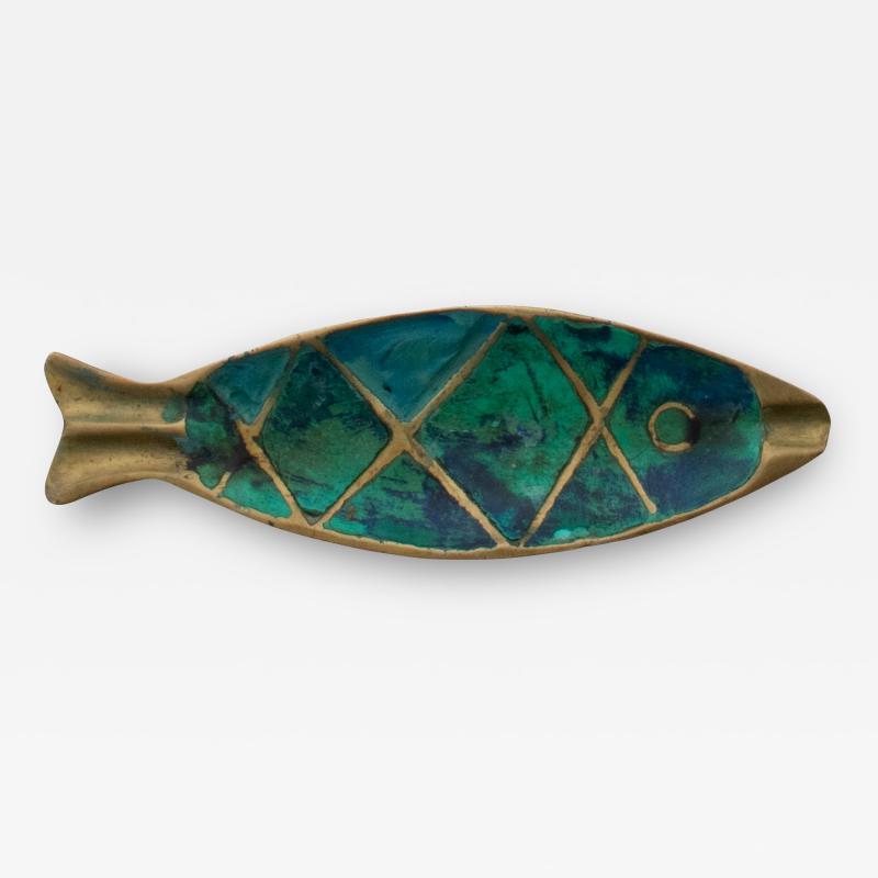 Pepe Mendoza Pepe Mendoza Fun Fish Dish Ashtray 1958 Mexico in Turquoise Malachite Bronze