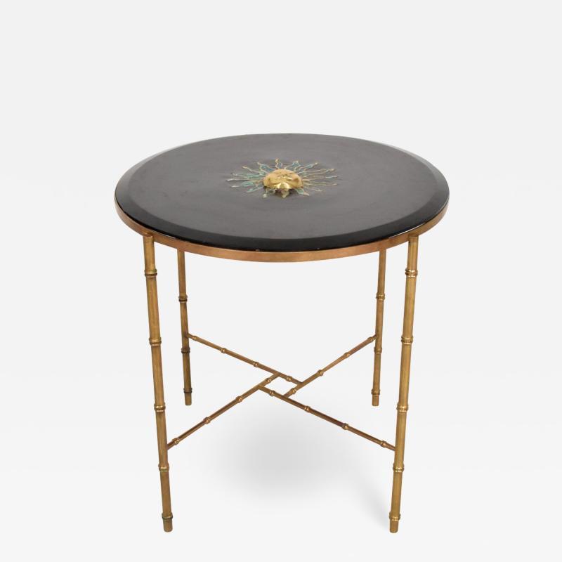 Pepe Mendoza Pepe Mendoza Malachite Sun God on Round Brass Bamboo Table 1950s Modernism