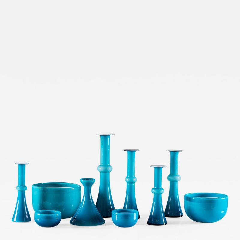 Per L tken Collection of Scandinavian Blue Glass by Per Lutken for Holmegaard