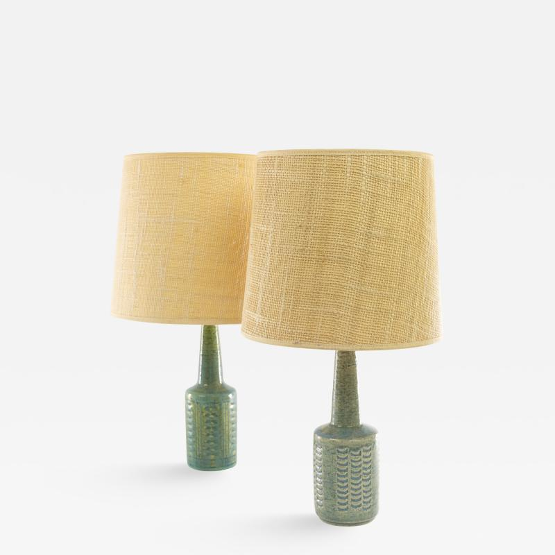 Per and Annelise Linnemann Schmidt Two pale baby blue table lamps DL 21 by Per Linnemann Schmidt for Palshus