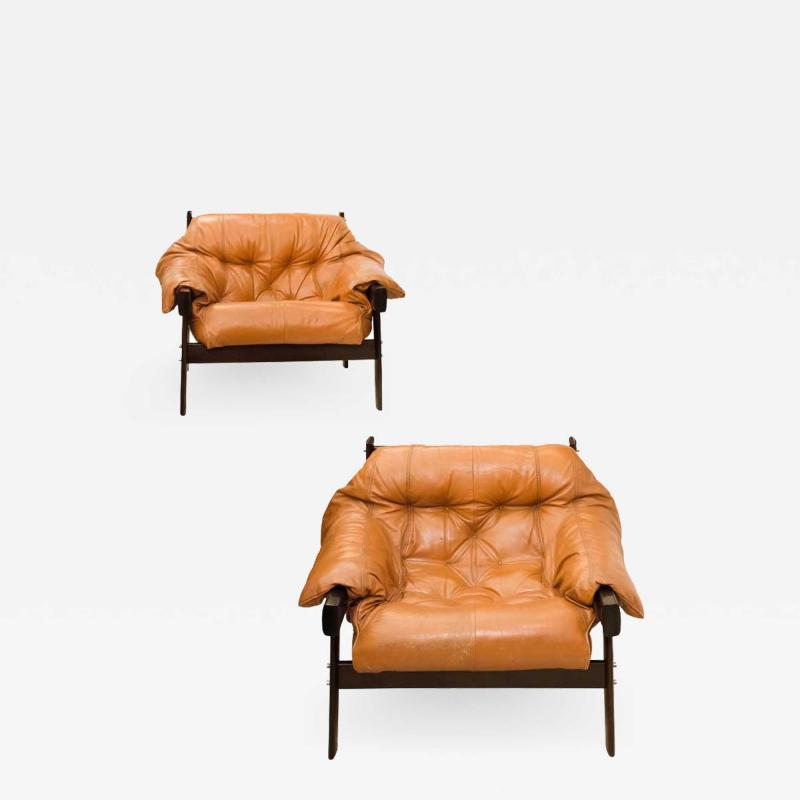 Percival Lafer Pair of Lafer leather armchairs by Percival lafer