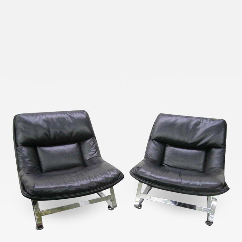 Percival Lafer Pair of Pervical Lafer Style Chrome Lounge Chairs Midcentury Danish