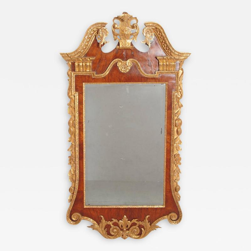 Period George II Pier Glass with Bookmatched Walnut Veneers