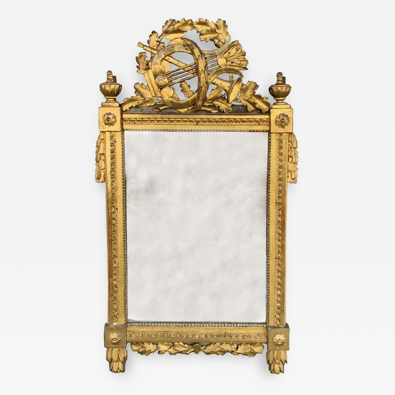 Period Louis XVI 18th Century French Giltwood Louis XVI Mirror with Lyre