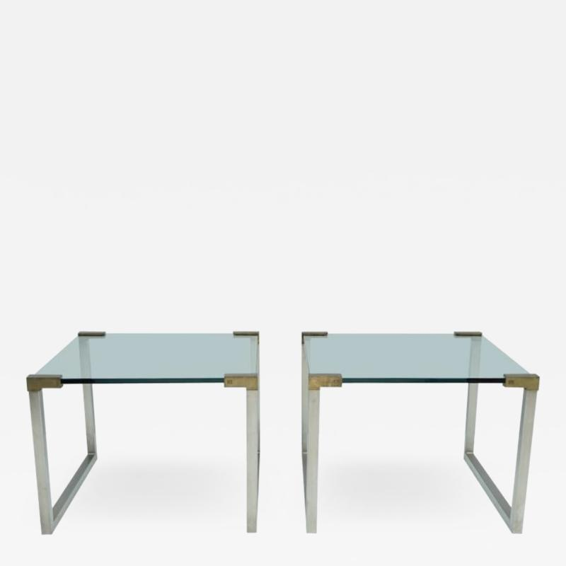 Peter Ghyczy Pair of Peter Ghyczy Side Tables in Glass and Brass 1970s