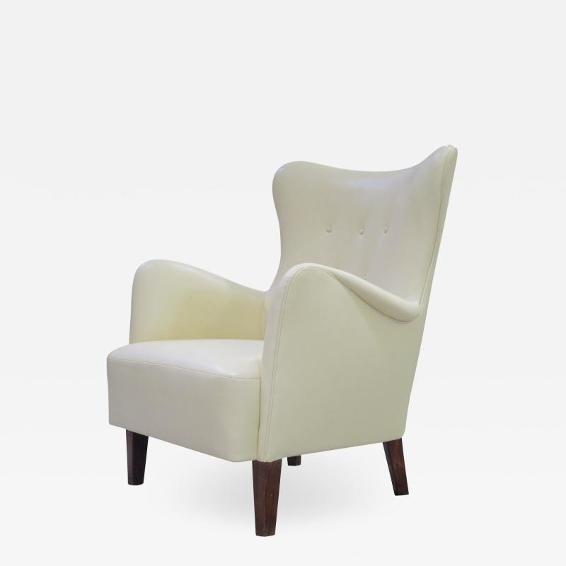 Peter Hvidt Early Scandinavian Leather lounge Chair