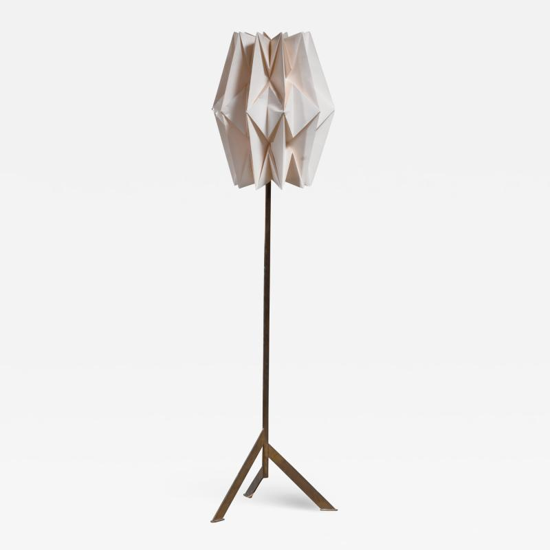 Peter Hvidt Orla M lgaard Nielsen Brass floor lamp with Organ Pipe pleated paper Le Klint shade