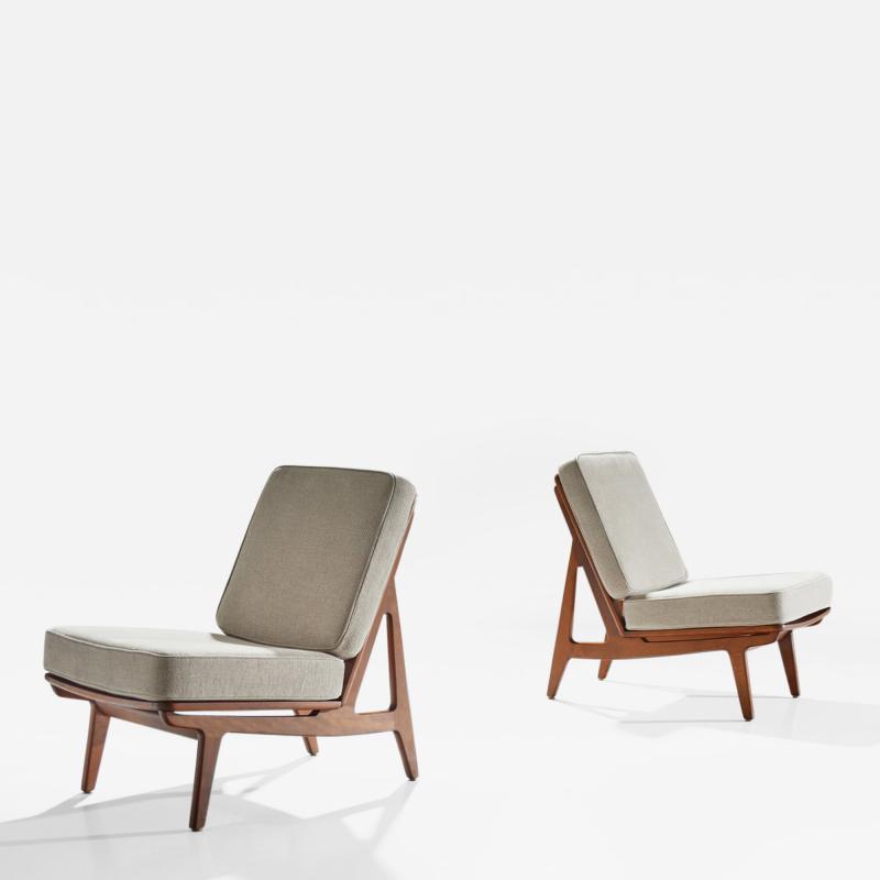 Peter Hvidt Orla M lgaard Nielsen Pair of FD 172 Slipper Chairs by Peter Hvidt and Orla Molgaard Denmark 1960s