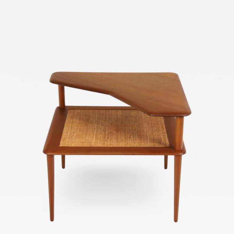 Peter Hvidt Scandinavian Modern Teak Cane Corner or Lamp Table By Hans Wegner