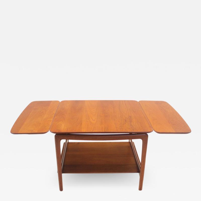 Peter Hvidt Solid Teak Scandinavian Modern Drop Leaf Side Table by Peter Hvidt