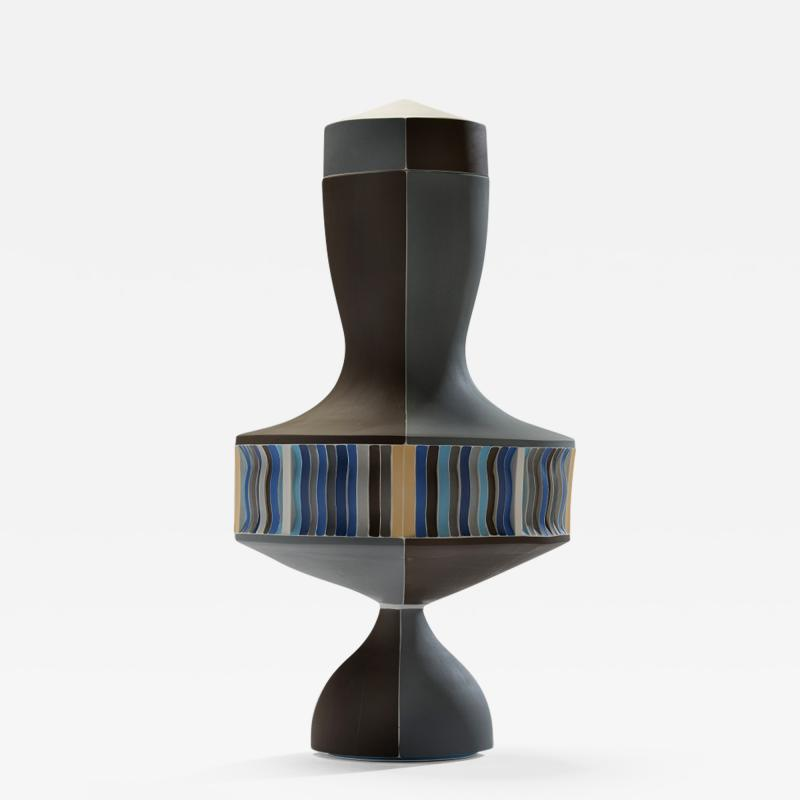 Peter Pincus Brown and Blue Urn with White Seams 2016