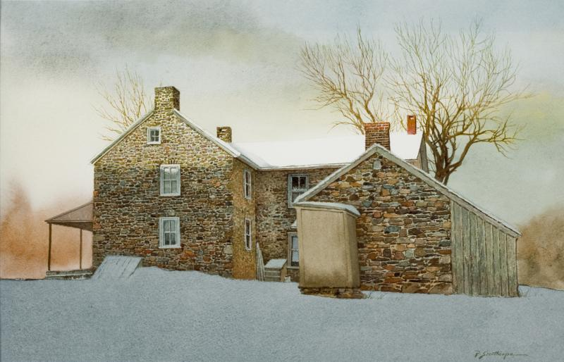 Peter Sculthorpe Stone Farm House in Snow