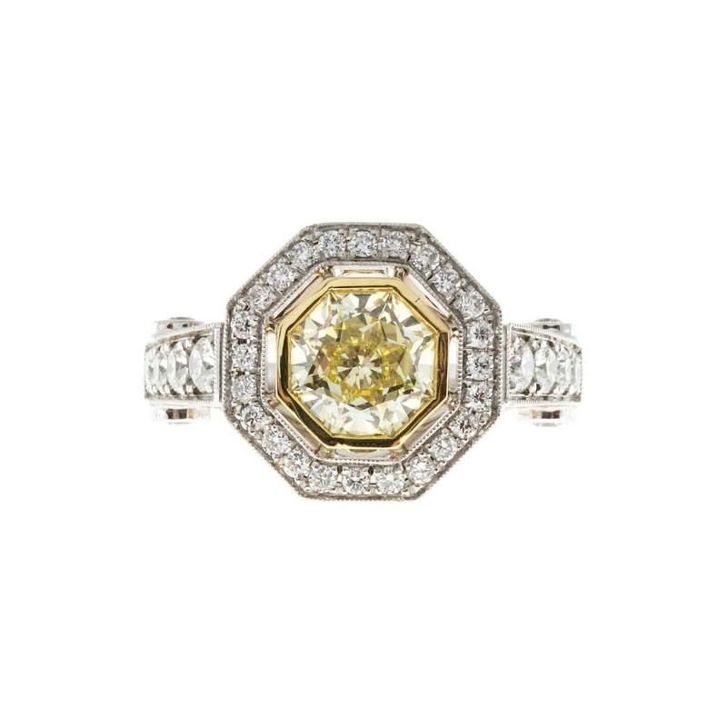 Peter Suchy Peter Suchy 1 12 Carat Light Natural Yellow Diamond Platinum Engagement Ring