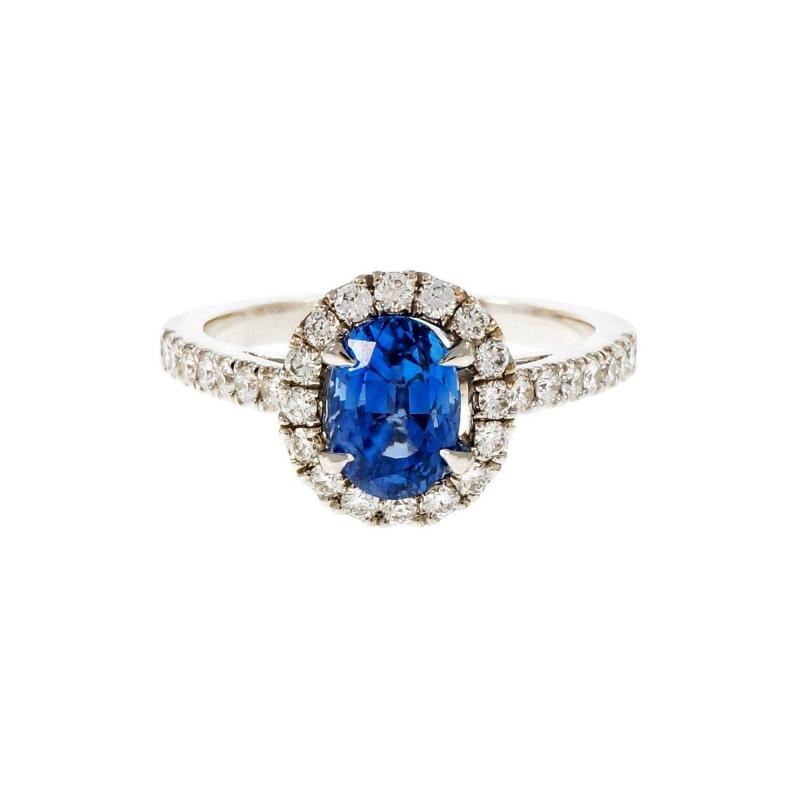 Peter Suchy Peter Suchy 1 77 Carat Oval Sapphire Diamond Halo Gold Engagement Ring