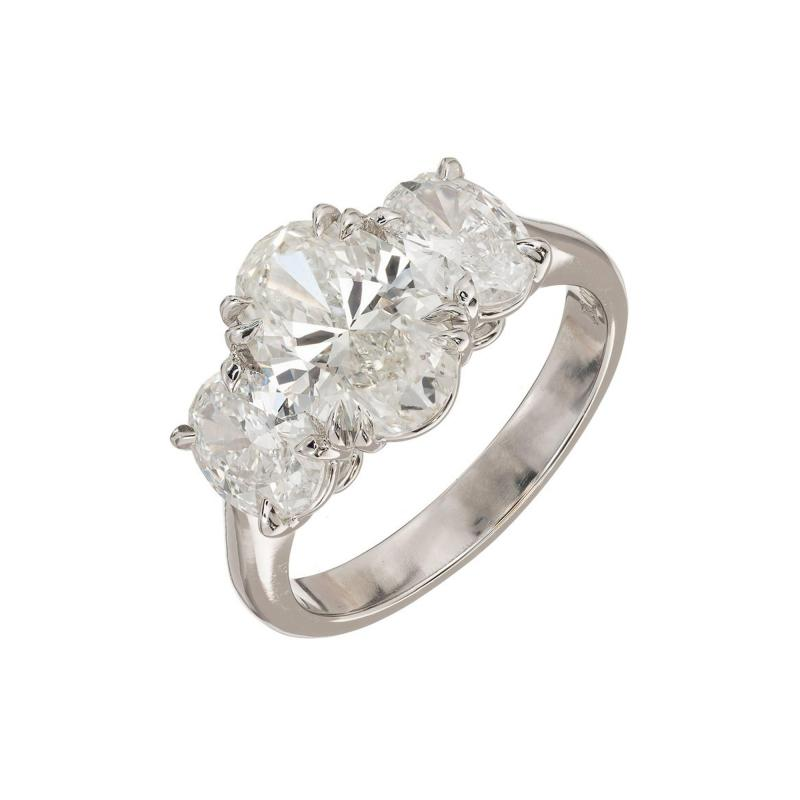 Peter Suchy Peter Suchy 2 01 Carat Oval Diamond Platinum Three Stone Engagement Ring