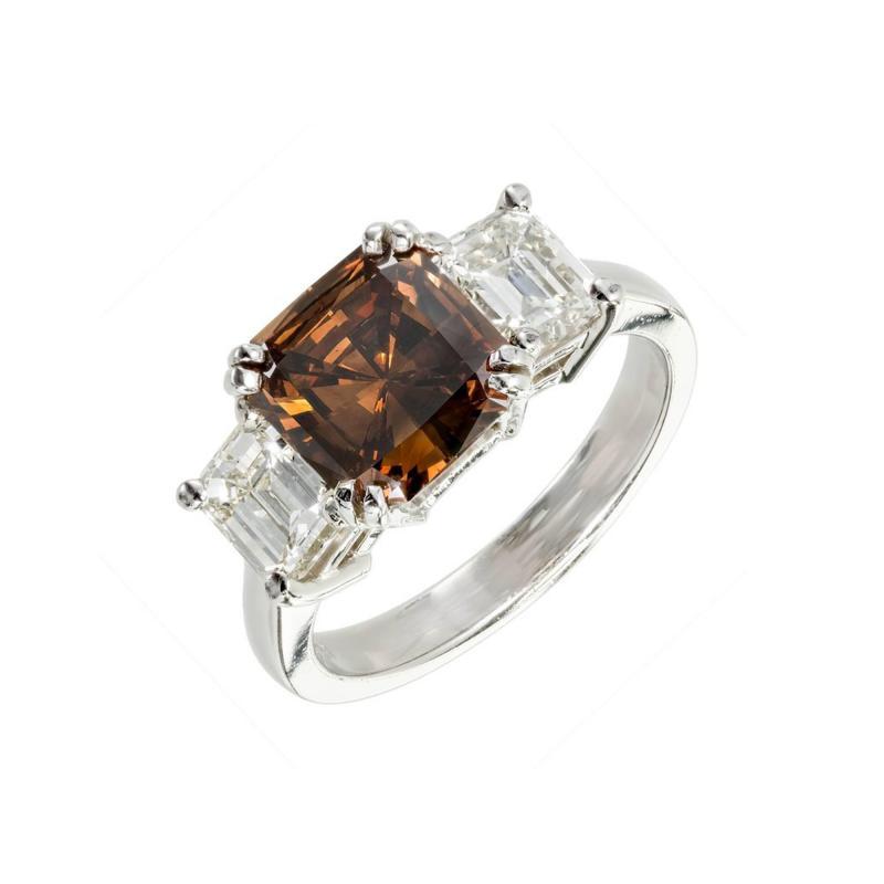 Peter Suchy Peter Suchy 2 14 Carat Dark Brown Diamond Platinum Engagement Ring