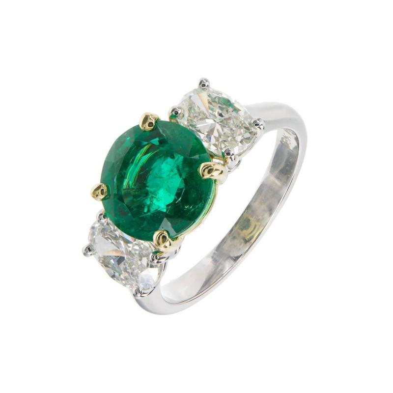 Peter Suchy Peter Suchy 3 07 Carat Emerald Diamond Platinum Gold Engagement Ring